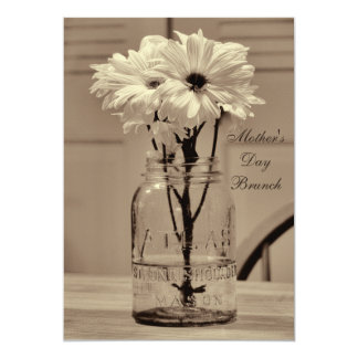 Mother's Day Brunch Sepia Mason Jar & Daisies Card