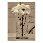 Mother's Day Brunch Sepia Mason Jar & Daisies 5x7 Paper Invitation Card
