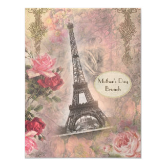 Mother's Day Brunch Shabby Chic Eiffel Tower Card