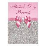 Mother's Day Brunch Silver Jewels Pink Faux Bow 5x7 Paper Invitation Card