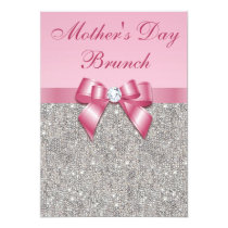 Mother's Day Brunch Silver Jewels Pink Faux Bow Invitation
