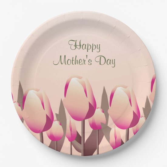 Mother's Day Brunch Spring Tulips Pink Party Paper Plate