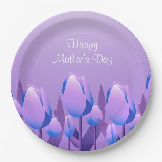 Mother's Day Brunch Spring Tulips Violet Party Paper Plate