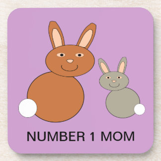 Mothers Day Bunnies Custom Number 1 Mom Coaster