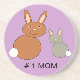 Mothers Day Bunnies Custom Number 1 Mom Coasters