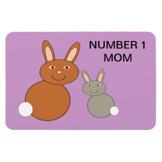 Mothers Day Bunnies Custom Number 1 Mom Magnet