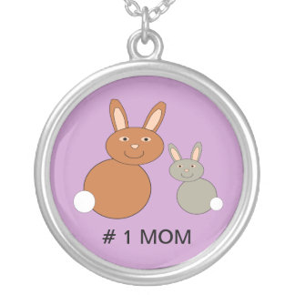 Mothers Day Bunnies Custom Number 1 Mom Necklace