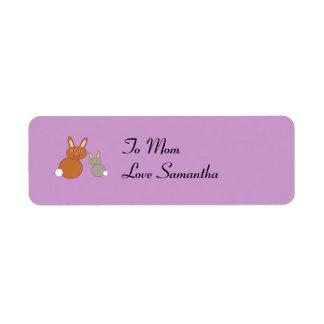 Mothers Day Bunnies Custom Present Tags Custom Return Address Labels