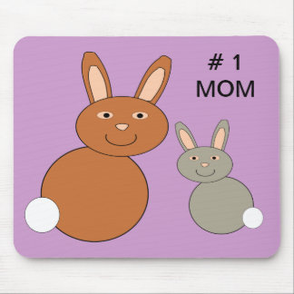 Mothers Day Bunnies Number 1 Mom Custom Mousepad
