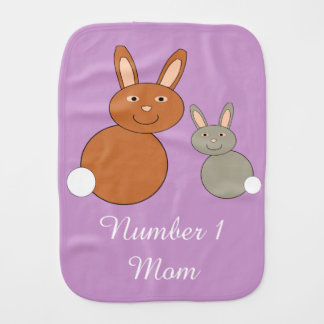 Mothers Day Bunnies Personalized Burp Cloth