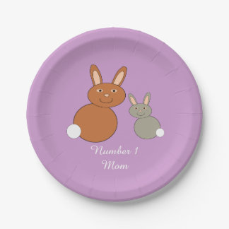Mothers Day Bunnies Personalized Paper Plates
