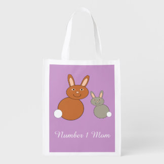 Mothers Day Bunnies Personalized Reusable Bag Grocery Bags