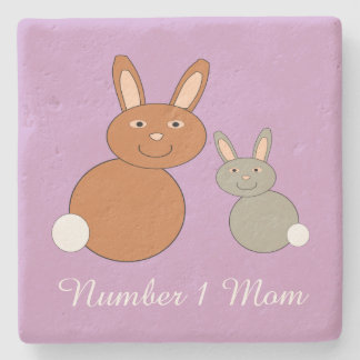 Mothers Day Bunnies Personalized Stone Coaster