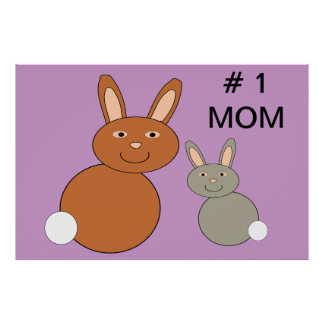 Mothers Day Bunnnies Number 1 Mom Custom Poster