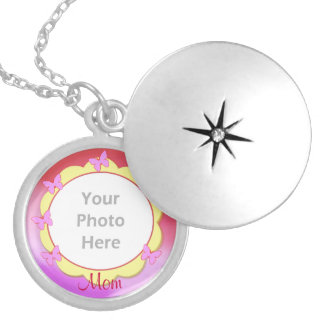 Mothers Day Butterflies (photo frame) Round Locket Necklace