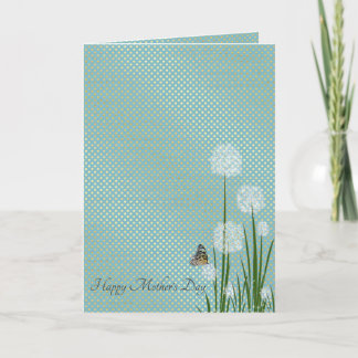 Mother's Day-butterfly on puff flower Card