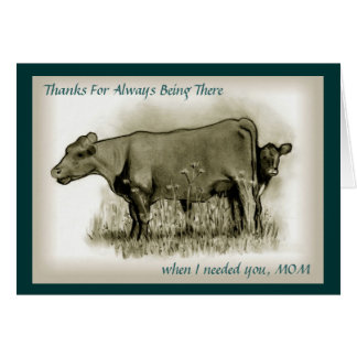 Mother's Day, Calf Hides Behind MOM, Pencil Art Card