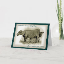 Mother's Day, Calf Hides Behind MOM, Pencil Art Thank You Card