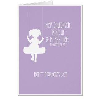Mother's Day Card Bible Verse Girl Silhouette