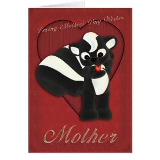 Mother's Day card cute skunk, Mothering Sunday