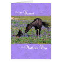 Mother's Day Card for Cousin - Mare with Foal
