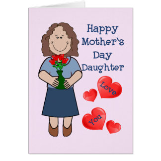 Mothers Day Card for Daughter-caucasion brown hair