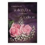 Mother's day card for godmom with three pink roses