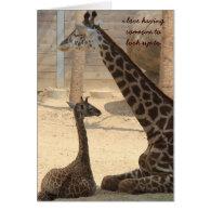 Mothers Day Card, Giraffe parent & child