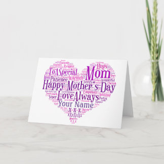 Mothers Day Card Personalized Typography Heart Mom