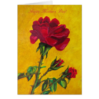 Mothers Day card, Red Rose art