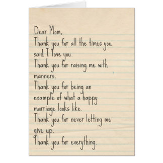 "Mother's Day Card ""Thank You"" Sentimental"