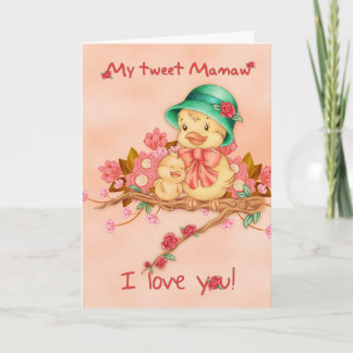 Mother's Day Card With Baby And Grandma Bird, My T