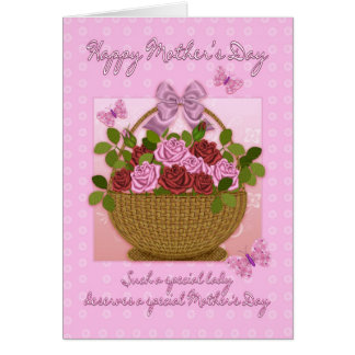 Mother's Day Card With Basket Of Roses And Butterf