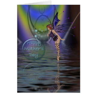 Mother's Day card with fairy and bubbles over wate