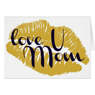 Mother's Day card with golden kiss