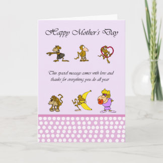 Mother's Day card with monkey
