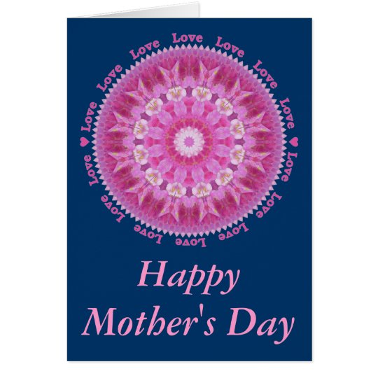 Mother's Day Card with Pink Hollyhock Star