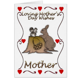 Mother's Day card with squirrel and Rabbit