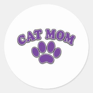 Mother's Day Cat Mom Round Sticker