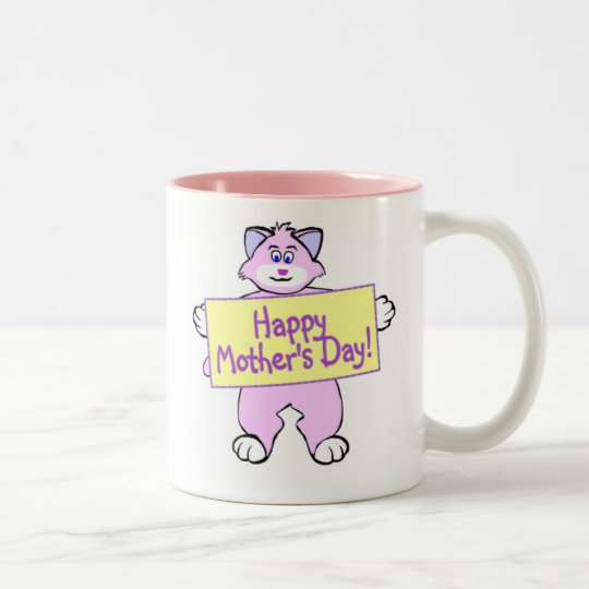 Mother's Day Cat Two-Tone Coffee Mug
