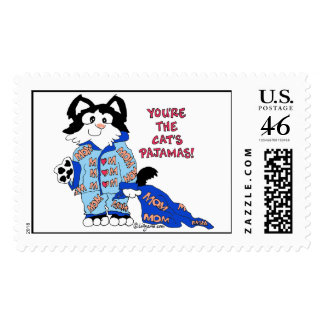 Mother's Day Cat's Pajamas Custom Postage Stamps