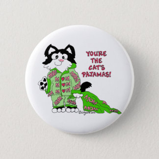 Mother's Day Cat's Pajamas Cute Cat Round Button