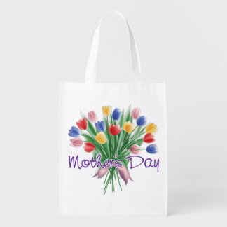 Mother's Day Colorful Flowers Grocery Bag
