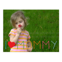 Mother's Day Colorful Moms Day I Love Mommy Photo Postcard