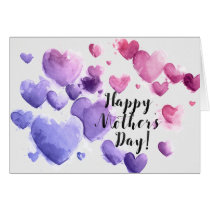 Mother's Day - Contemporary Watercolor Hearts Card