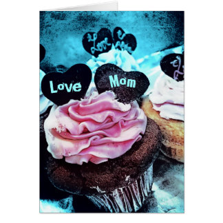 Mother's Day Cupcake Love Mom Blue Card