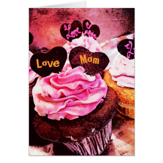 Mother's Day Cupcake Love Mom Orange Card
