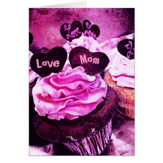 Mother's Day Cupcake Love Mom Pink Card