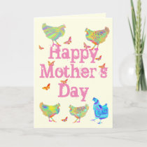 Mothers Day Cute Colourful Butterfly & Chickens Holiday Card