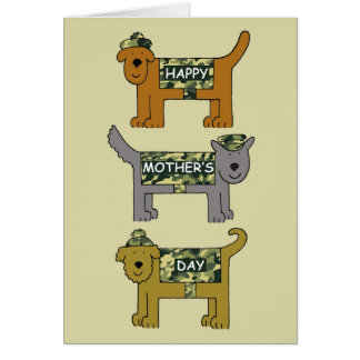 Mother's Day cute dogs in military camouflage.